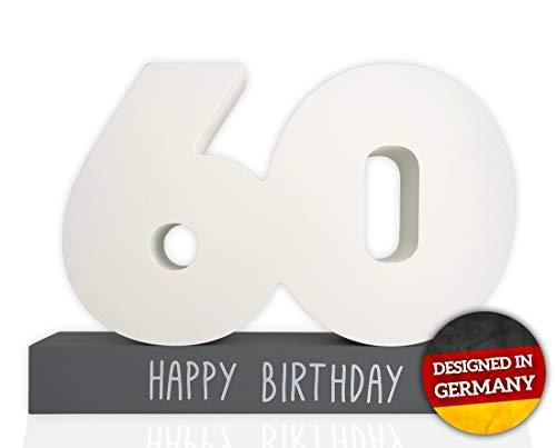 stebuch Geburtstag Holz inkl. Stift - Gästebuch für den 60. Geburtstag aus Holz - 60 Geburtstag für Männer und Frauen - Kreatives Geschenk - Holzgratulant (Weiß / Grau 60) ()