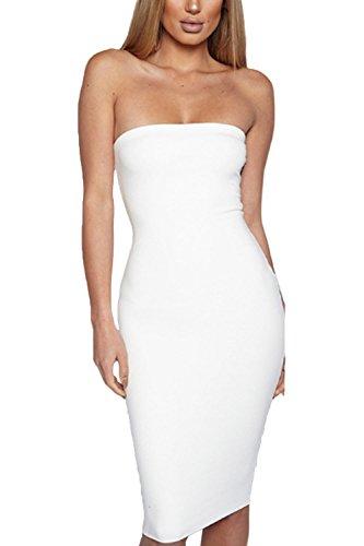 Le Donne Sexy Senza Maniche Da Spalla Bodycon Nightclub Midi Vestito White