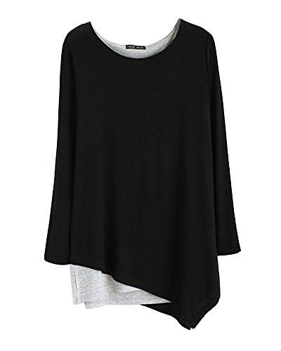 Donna allentato orlo irregolare girocollo maniche lunghe camicetta camicia tops yoga abbigliamento nero