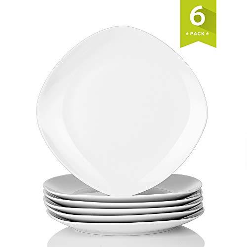 MALACASA, Serie Elisa, 6 TLG. Porzellan Tellerset Speiseteller Set Flachteller 24,6cm für 6 Personen (Weiße Teller Porzellan)