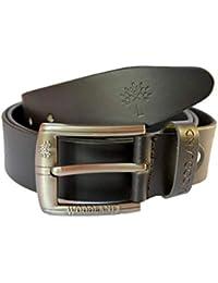 Woodland Men's Leather Matte Finish Belt (Black)