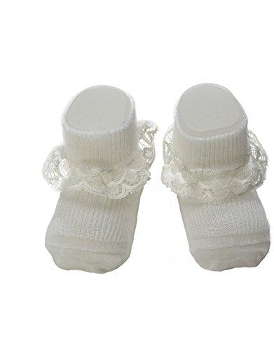 | WEISSE BABY SOCKEN MIT SPITZE | ONE SIZE | ITALIAN HOSIERY | (One Size, Weiss) (Bio-baumwolle Neugeborenen Booties)