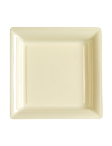 12 Petites assiettes carrées en plastique ivoire 18 cm