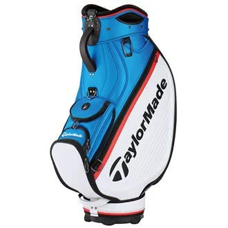 TaylorMade 2018 Golf Tour Cart Bag Mens Trolley 6 Way Velour Top White/Blue/Red (Golf Bag-tour)