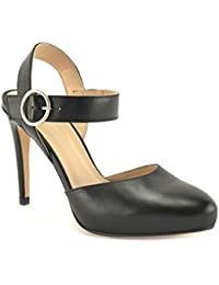 ConBuenPie by ENYA - modelo 420 - Zapato de Vestir de Mujer Color Piel Negro y Rojo