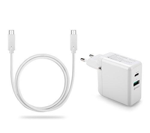 VAPIAO USB C Ladeset 2 Meter [Typ C auf Typ C Ladekabel und PD Charger] [Schnellladegerät] [Type C und USB 3.0 Anschluss] für alle Geräte wie Apple Mac Book, iPhone, iPad, Samsung, Huawei in weiß
