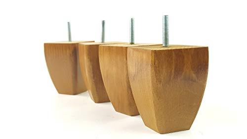 Knightsbrandnu2u 4x Füße Ersatz Möbel Beine Höhe 90mm aus Massivem Holz für Sofas, Stühle, Hocker M8(8mm) tsp2031 Goldene Eiche -