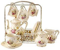 Ufengke® servizio di porcellana di lusso decorato a mano, rosso e oro rosa, da caffè, tè, per matrimonio white f