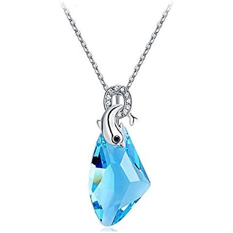 La Noche Estrellada Delfines Lover Azul Crystal 18K Plata Collar adecuado Fashion Mujeres
