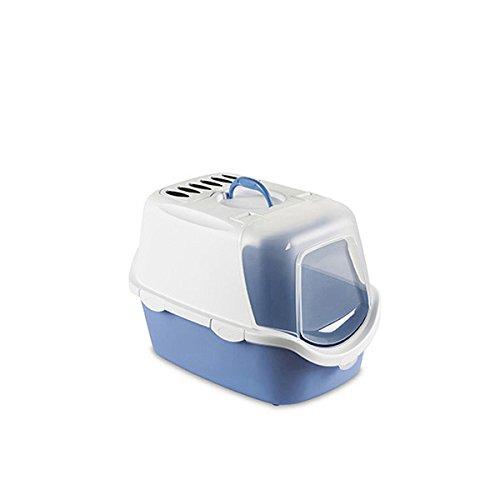 Toilette-Cathy-Easy-Clean-Lettiera-per-gatti-con-apertura-superiore-in-plastica-completa-di-accessori-Azzurro