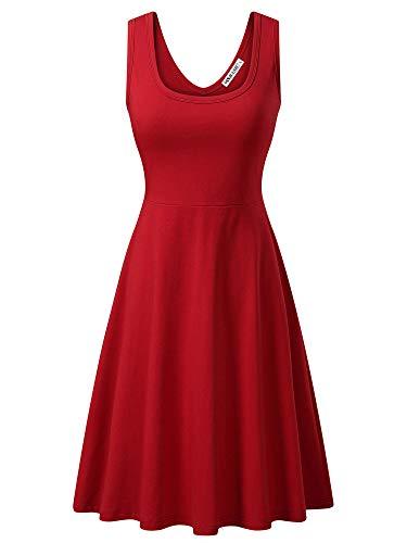 MSBASIC àrmelloses, ärmelloses Kleid mit Rundhalsausschnitt für den Sommer 18023-5, Rot, L Fashion Kleid
