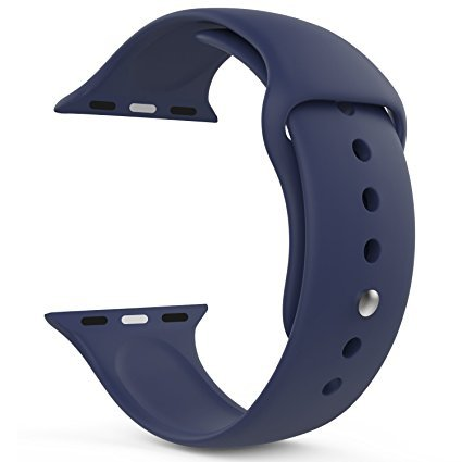 Apple Watch Band 42mm, invella(TM) Apple Watch Replacement Strap, Soft Silicone Sports Band (Navy Blue)