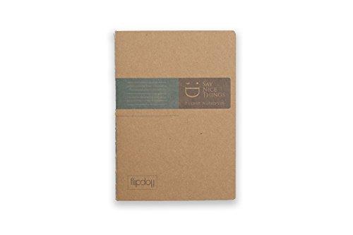 FlipFlop wendbar Pocket Notizbuch, A6, Mini Tagebuch Papier Cover mit liniertes Papier und Grid grün