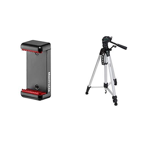Manfrotto MCLAMP Smartphone Halterung schwarz & AmazonBasics Leichtes Stativ, bis 1,52 m, inkl. Tasche, mit 3-Wege-Schwenkkopf und Wasserwaage Manfrotto Mini Clamp