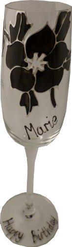 Flûte à champagne Rose personnalisée noir maximum 25caractères
