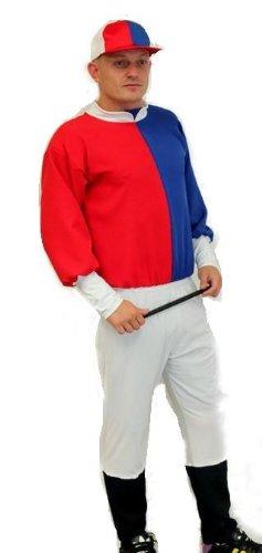 Rot Weiss Blau N & Jockey-Kostüm von Dragons Den Fancy Dress One size, elastische bis 111.76 cm Brust
