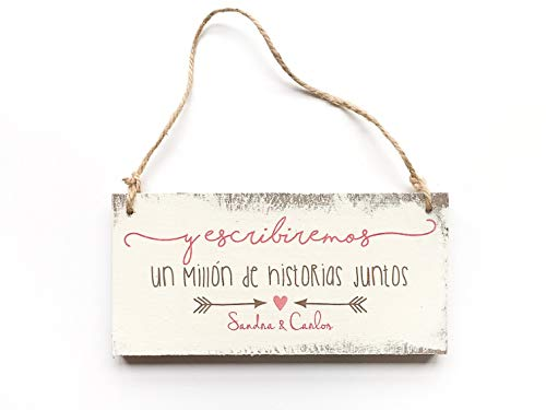 Cartel vintage madera personalizable 25x12cm-
