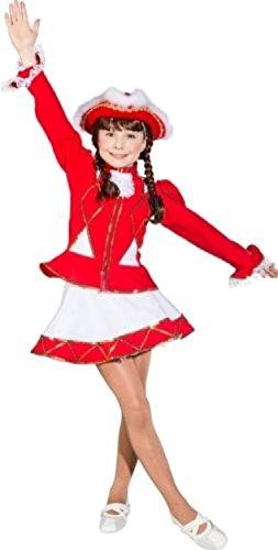 O665-128 Funkenkostüm Kinder-Mädchen rot-weiß mit Goldborte Gr.128 (Polen Kostüm Kinder)