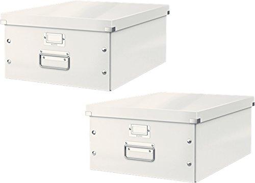 Leitz 6045 Click & Store, Große Aufbewahrungs- und Transportbox mit Deckel für A3 (2er Pack, Weiß) -