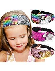 Beinou Pailletten Stirnbänder, Meerjungfrau Reversible Pailletten Stirnband Elastic Stretch Sparkly Glitter Mode Stirnbänder Pack von 3