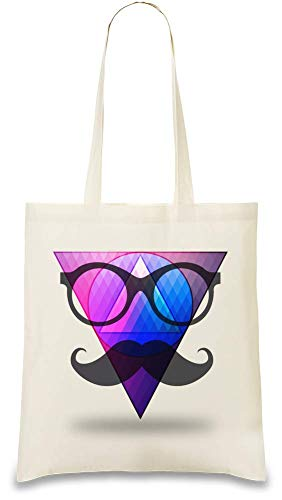 (Hipster-Schnurrbart und Gläser - Hipster Moustache And Glasses Custom Printed Tote Bag| 100% Soft Cotton| Natural Color & Eco-Friendly| Unique, Re-Usable & Stylish Handbag For Every Day Use| Custom)
