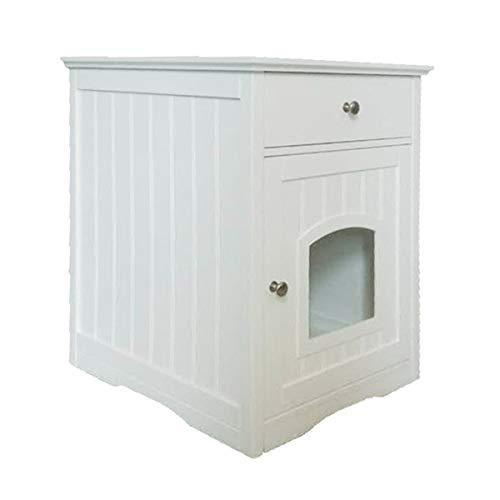 UPP Katzenschrank mit Schublade Hochglanz-weiß/Ideales Maß: 57.8x62.2x63.5cm / Badezimmerschrank - Toilettenschrank - Katzenhöhle - Alles in Einem! FSC ZERTIFIZIERTES Holz!