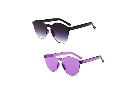 Aoweika Hochwertige UV400 2er Set Sonnenbrille matte Rubber Retro Vintage Unisex Brille mit Federscharnier für Herren und Damen Transparente Süßigkeitenfarbe Brille