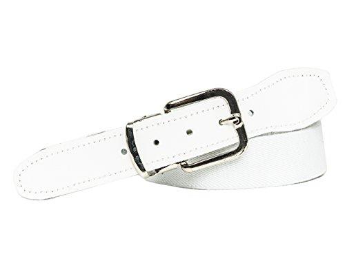 Shenky elastischer Stoffgürtel Gummigürtel 3cm Breite Stretchgürtel mit Lederbesatz (110cm, weiß) (Canvas-gürtel Silberne Schnalle)