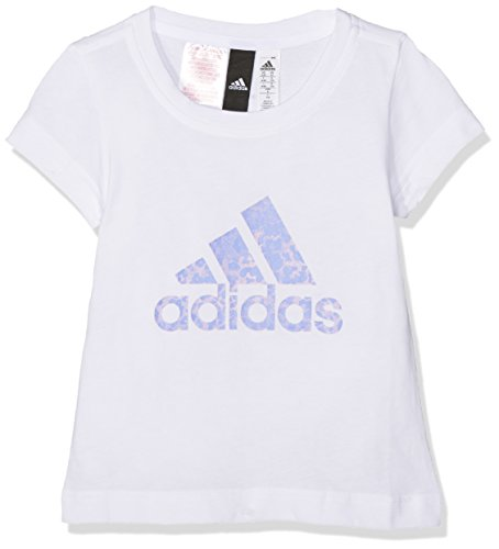 adidas Mädchen Essentials Performance Logo Tee T-Shirt, White/aero pink s18/Chalk Purple s18, 116 -