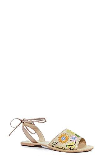 Damen Nackt Grace Bestickte, Flache Sandalen Mit Gewickeltem Fesselriemchen Nackt