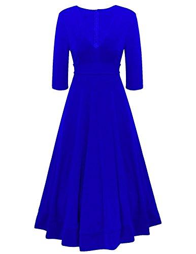 CARINACOCO Damen Elegante Kleider Tief V-Ausschnitt 1/2 Ärmel Einfarbig Plissee A-Linie Cocktailkleid Abendkleid Partykleid Blau