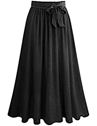 e02ae124fc220 YuanDiann Femme Jupe Longue évasée Basique Ample Élasticité Taille Jupe de  Vacances ...