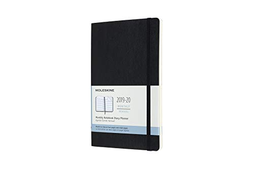 Moleskine, agenda 18 mesi mensile 2019/2020, copertina morbida e chiusura ad elastico, colore nero, dimensione large 13 x 21 cm, 128 pagine
