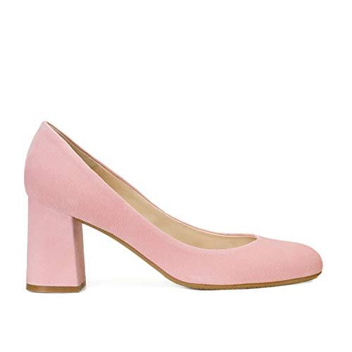 Gennia Viva - Zapatos de Tacón Ancho con Punta Cerrada para Mujer, Piel Ante Color Rosa Pastel, Talla 43