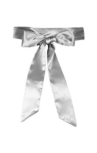 eit Bogen Band BrautjungfernabschlussballSatin-Schärpe Gürtel (Silber, 10 CM X 250 CM) ()