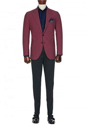 CALVINSUIT Herren 2 Stück Anzug Karo Plaid Slim Fit Zwei Tasten formelle Kleidung Jacke Tux Hose -