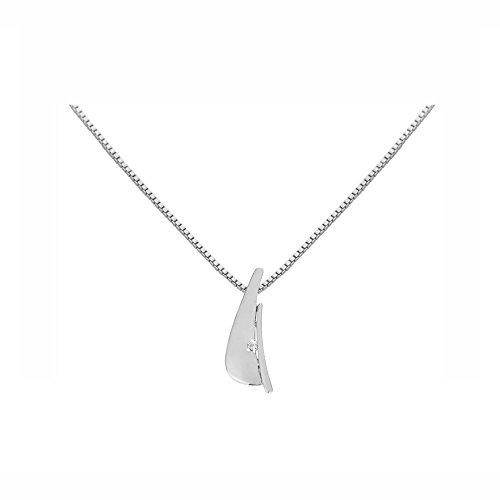 Or Blanc 9 ct Pendentifs Diamant , 0.02 Ct Diamant, GH-SI, 1.33 grammes.