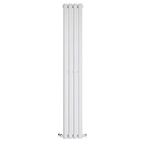 BestBathrooms Radiatore Termoarredo di Design Verticale Bianco – 1400 x 236 mm – Termosifone Singolo Pannello Colonne Ovali Design Moderno Salva-Spazio – 457 Watt