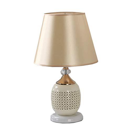 Tischlampe Moderne Keramik Nachttisch, Hohl Cloth Prozesstastenschalter-Gelb Beleuchtung Tisch (Gelb Moderne Keramik-tischlampe)