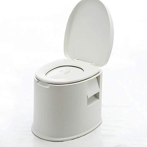 Mobile toilette reisetoilette wc eimer 5L mit waschbarem Korb und Toilettenpapierhalter für Pool Party Camping Caravan Picknick und Feste (weiß)