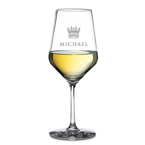 Amavel - calice da vino bianco con incisione - corona - personalizzato con [nome] - bicchieri da vino in vetro - calice da collezione - bicchieri particolari - accessori da cucina - idee regalo