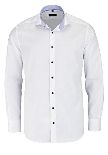 ETERNA Herrenhemd Modern Fit, weiß, Patch blau, 41