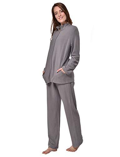 Fleece-schlafanzug (Raikou Damen Hausanzug Elegant Volltonfarbe Micro-Fleece Schlafanzug Freizeitanzug Hausanzug mit Reißverschluss (36/38,Grau))