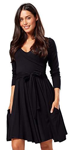 Happy mama.vestito prémaman per l'allattamento maniche lunghe tasche laterali.696p (nero, it 44/46, l)