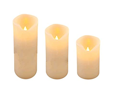 3Größe Dancing Flame LED Echt Wachs Kerzen Set. 13, 18und 23cm elfenbeinfarben (Dancing Santa Weihnachten)
