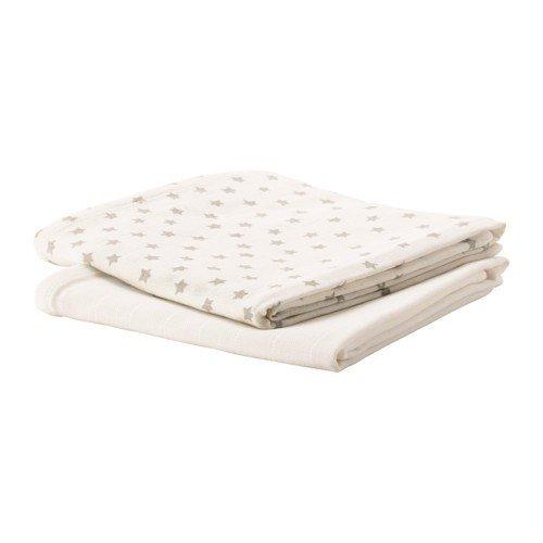Preisvergleich Produktbild IKEA HIMMELSK Baumwolltücher in weiß/grau; (70x70cm); 2 Stück
