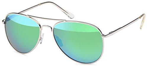 Premium Set, Pilotenbrille Verspiegelt Fliegerbrille Sonnenbrille Pornobrille Brille mit Federscharnier (77 | Rahmen Silver - Glas Grün verspiegelt)