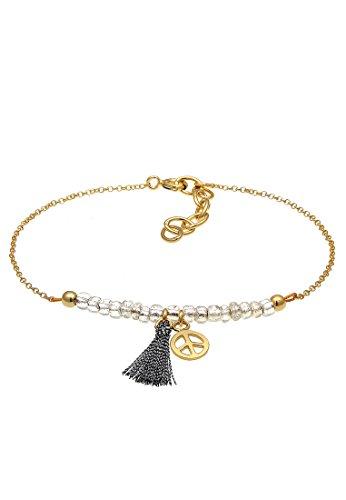 Elli Damen Armband mit Tassel und Peace Anhänger Perlen Trend Festival in 925 Sterling Silber Vergoldet - 16cm Länge