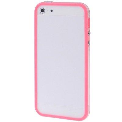 Wkae Case Cover Transparente Kunststoff Auto Frame mit Tasten für iPhone 5 ( Color : Red ) Magenta