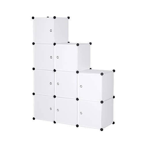 WOLTU Garderobenschrank SR0055ws DIY Kleiderschrank Regalsystem Steckregal Aufbewahrung Lagerregal Bücherregal mit Tür, 9 Fächer, Kunststoff, 111x37x111cm, Weiß -